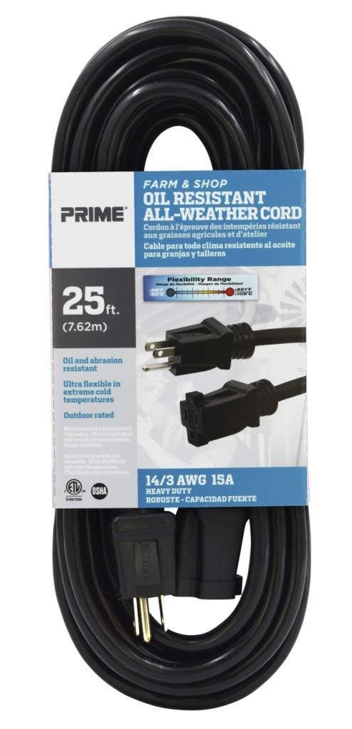 Black Inc. Prime Wire /& Cable EC532725 25-Foot 14//3 SJTOW Farm and Shop Extension Cord