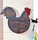 Gift Included- Barnyard Animal Country Farmhouse Themed Kitchen Storage & Organization Wall Baskets Rooster + FREE Bonus Water Bottle by Homecricket