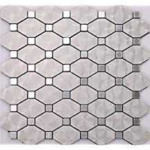 Silver Aluminium Plastic Panel Self Adhesive mosaic tiles sticker, self-stick mosaic tiles for home wall, 30x30cm waterproof tiles, LSW01 (5 pieces | 5 sq.ft/0.5 sqm)