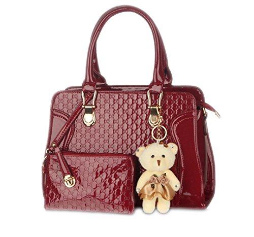 asa Wewod 10 Moda Mujeres Viajes 24 Rojo Mensajero monedero de L x con x Bolso para H Bandolera de 32 5cm Shopping W Bolsa Cuero PU rPrcWUqR