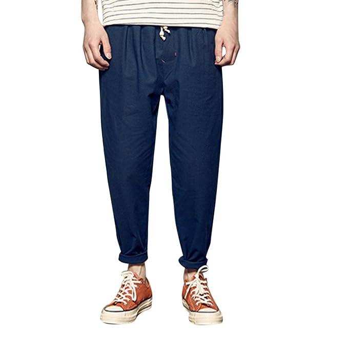 5fdb0d32d82f Pantalones para Hombres Pantalones Algodón Lino Verano Los Hombres ...