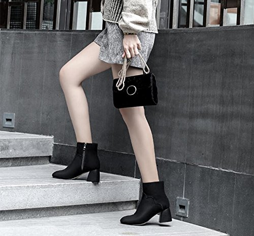 KHSKX-Korean Winter New Square With Thick Shoes Boots Short Side Zipper Boots And High-Heeled Boot Black 3Fu3g1