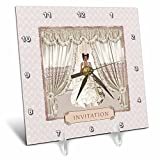 3dRose Beverly Turner Wedding Bridal Party Design - Bride in Wedding Gown, Drapes in Window, Invitation, Cream and Rose - 6x6 Desk Clock (dc_282068_1)