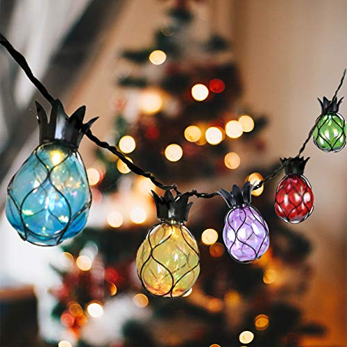 Vigdur Pineapple Fairy String Lights with 10 Multicolor Bulbs Connectable Waterproof Decorative Indoor String Lights for Christmas Party Birthday Wedding Festival Bedroom Outdoor Patio
