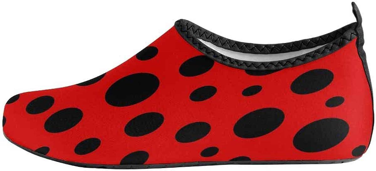 INTERESTPRINT Mens Quick Dry Barefoot Aqua Shoes Red Ladybug Dots Beach Swim Shoes Barefoot Pool Water Socks Shoes