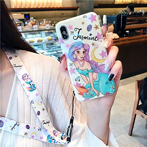 1 piece Rlenda Blue-ray Soft TPU IMD Silicone Cover with Phone Lanyard Mermaid Jasmine Princess Phone Case For iPhone 7 8 Plus X 6 -