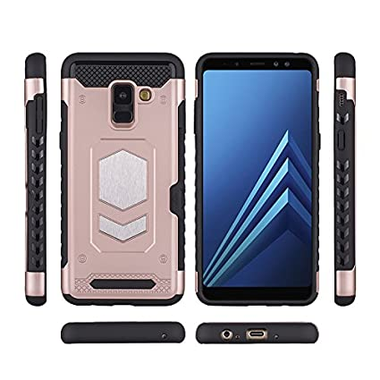 Samsung Galaxy A8 2018//A8 Plus 2018 Case Magnetic Dual Layer Card Slot Kick-Stand Armor Series Car Mount