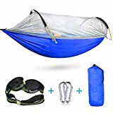 iSPECLE Camping Hammock with Mosquito Net, Hanging Swing Outdoor Travel Hammock Bed with Tree Straps Stuff Sack Lightweight Folding Portable Easy to Set up Yard Backpacking Hiking Sleeping Blue