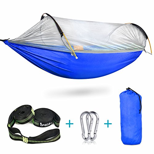 iSPECLE Camping Hammock with Mosquito Net, Hanging Swing Outdoor Travel Hammock Bed with Tree Straps Stuff Sack Lightweight Folding Portable Easy to Set up Yard Backpacking Hiking Sleeping Blue by iSPECLE