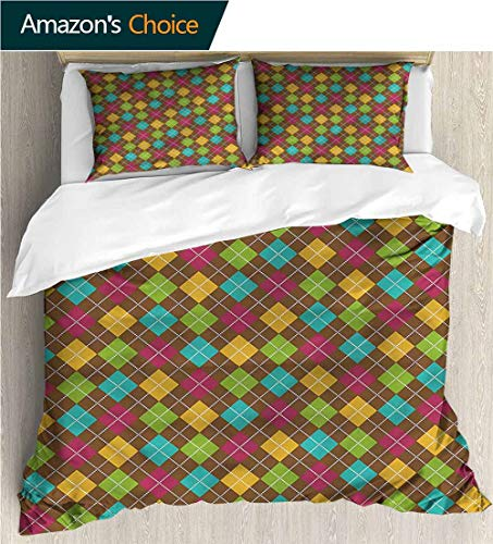 Bedding Sets Duvet Cover Set,Box Stitched,Soft,Breathable,Hypoallergenic,Fade Resistant Bedspreads Beach Theme Quilt Cover Children Comforter Cover-Geometric Bold Argyle Pattern (79