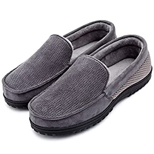 ULTRAIDEAS Men's Comfy Memory Foam Moccasin Slippers Breathable Mesh Suede Terry Cloth House Shoes