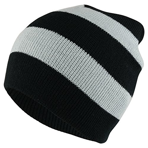 (Armycrew Two Tone Thick Striped Acrylic Knit Short Winter Beanie Hat - Black Grey)
