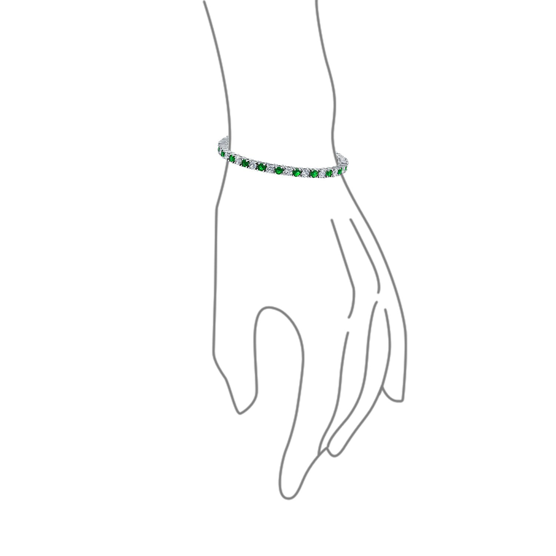 Alternating Round Solitaire CZ Tennis Bracelet for Women Simulated Gemstone Cubic Zirconia Rhodium Plated Brass 7.5in