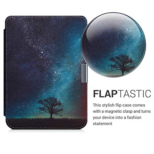kwmobile Case Compatible with Kobo Clara HD - PU e-Reader Cover - Cosmic Nature Blue/Grey/Black