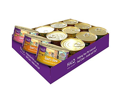 Halo Holistic Wet Cat Food, Variety Pack with Grain Free Chicken, Salmon, Turkey 5.5 OZ of Canned Cat Food, 12 Cans