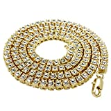 NIV'S BLING - 14K Gold Plated Tennis Necklace - Iced Out 1 Row Chain, 36 inches