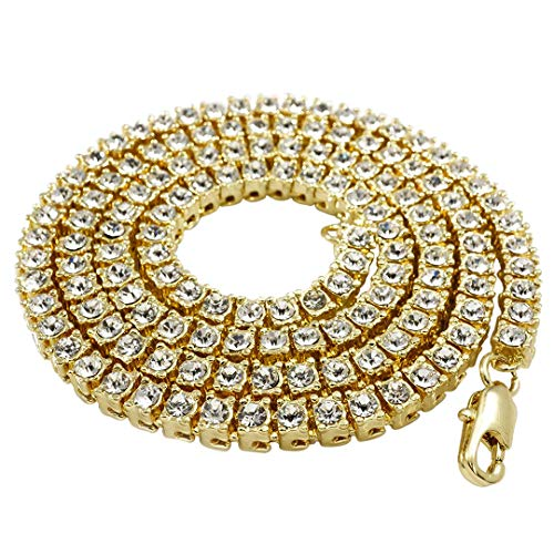 NIV'S BLING - 14K Gold Plated Tennis Necklace - Iced Out 1 Row Chain, 24 inches