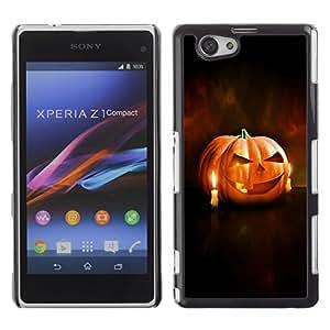 Xperia Z1 Compact D5503 - Metal de aluminio y de plástico duro Caja del teléfono - Negro - Halloween Pumpkin & Candles