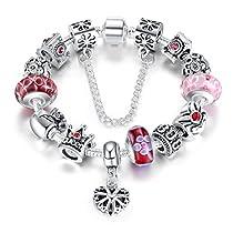 Wostu Reine Bijoux Silver Charms Bracelet avec des perles de la Couronne de la Reine pour le jour de la vente de femmes Valentine