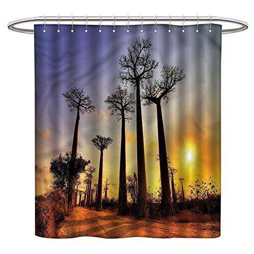 (Qenuanmpo Colorful Shower Curtain Sunset,Tall Tree Madagascar Skyline,Waterproof Washable Bathroom Curtain)