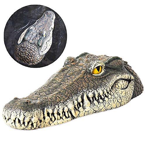 MOGOI Alligator Head Decoy & Pond Float,13 Inch Floating Alligator Head Decoy with Reflective Eyes for Pool, Pond, Garden and Patio, 33x15.5x7.5cm
