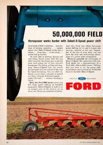 1964 Ad Ford Tractor Farming Vehicle Plow Agriculture 6000 Select-O-Speed Farm - Original Print Ad from PeriodPaper LLC-Collectible Original Print Archive