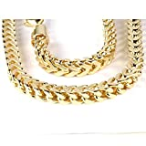 14K Yellow Gold Mens Franco Chain Necklace 5 mm wide lobster clasp (28 Inch long)