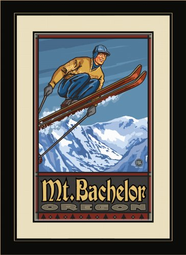 Northwest Art Mall PAL-0303 FGDM SJ Mt. Bachelor Oregon Ski Jumper Framed Wall Art by Artist Paul A. Lanquist, 16 by 22-Inch (Best Places To Visit In Oregon And Washington)