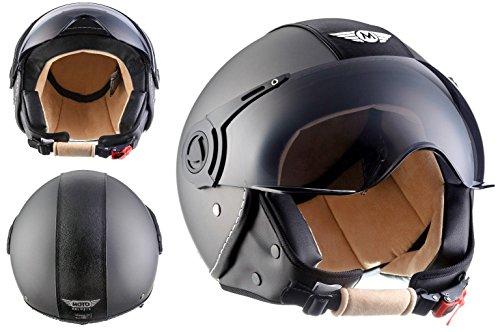 MOTO H44 Vintage Titan · Motorrad-Helm Retro Biker Vespa-Helm Bobber Mofa Cruiser Roller-Helm Scooter-Helm Chopper Helmet Vintage Pilot Jet-Helm ,ECE zertifiziert ,inkl. Stofftragetasche ,Grau · M (57-58cm)