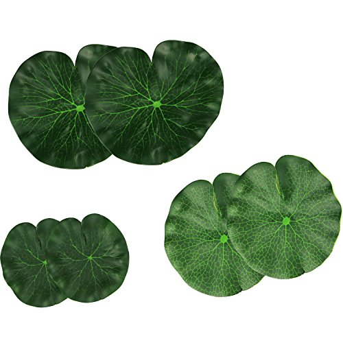 Lightingsky Artificial Floating Foam Lotus Leaves Artificial Foliage Pond Decor Pack of 6 (18cm+15cm+10cm, Pack of 6)