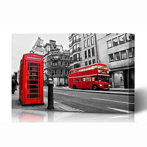 Ahawoso Canvas Prints Wall Art 16x12 Inches Europe Red Bus Fleet Street London UK Selective United Color Black White Phone Vintage Booth Design Wooden Frame Printing Home Living Room Office Bedroom