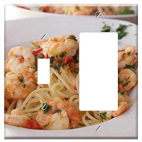 (1-Toggle 1-Rocker/GFCI Combination Wall Plate Cover - Spaghetti Pasta Noodles Food Eat Cook Plate)