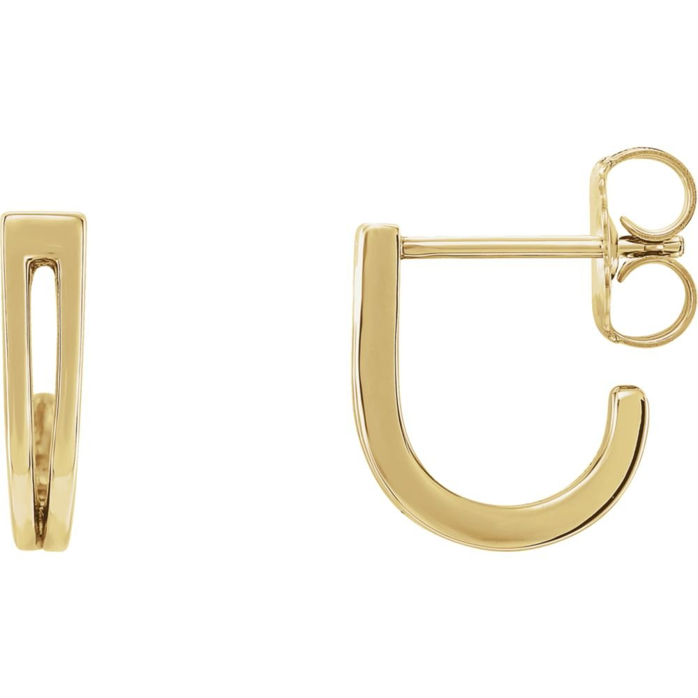 Jewels By Lux 14K Yellow Gold Pair Polished Geometric Earrings With Backs