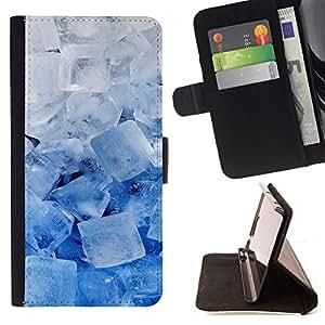 BullDog Case - FOR/HTC One M7 / - / ice crystals blue white winter snow cool /- Monedero de cuero de la PU Llevar cubierta de la caja con el ID Credit Card Slots Flip funda de cuer