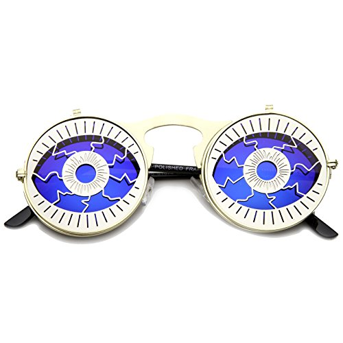 zeroUV - Party Eyeball Flip-Up Cover Colored Mirror Lens Round Novelty Sunglasses 47mm (Gold-Silver / - Sunglasses Eyeball