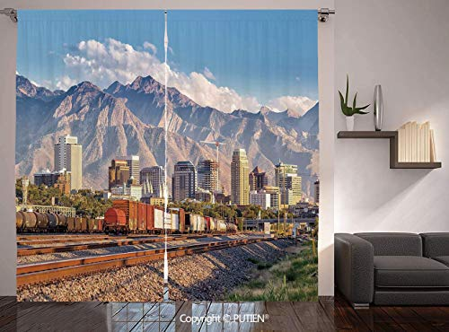 Thermal Insulated Blackout Window Curtain [ Landscape,Downtown Salt Lake City Skyline in Utah USA Railroads Mountains Buildings Urban,Multicolor ] for Living Room Bedroom Dorm Room Classroom Kitchen C