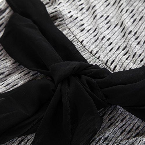 Envoltura Mujeres imitación Jacquard Chicwe Vestidos amp;negro de Tallas Gris Grandes en Tejido Harlow EYHawqY