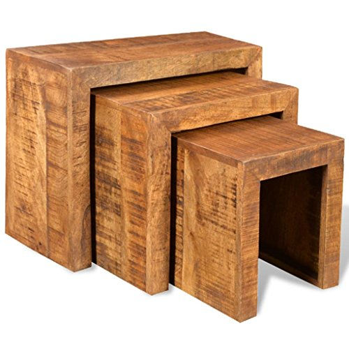 3 Pieces Nesting Table Set Solid Mango Wood for Home Living Room Bedroom Office