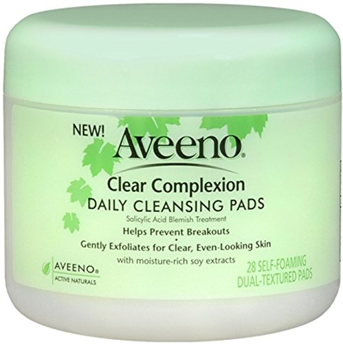 Aveeno Clear Complexion Daily Facial Cleansing Pads With Salicylic Acid Blemish Treatment, 28 Count (Pack of 3)