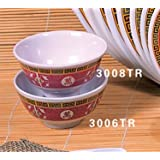 Thunder Group Peacock Collection 12-Pack 11-Ounce Rice Bowl, 4-3/8-Inch, Melamine, Red
