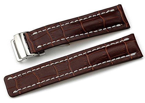 24mm Brown Leather Watch Strap With Deployment Buckle/Clasp For - Clasp Breitling Deployment