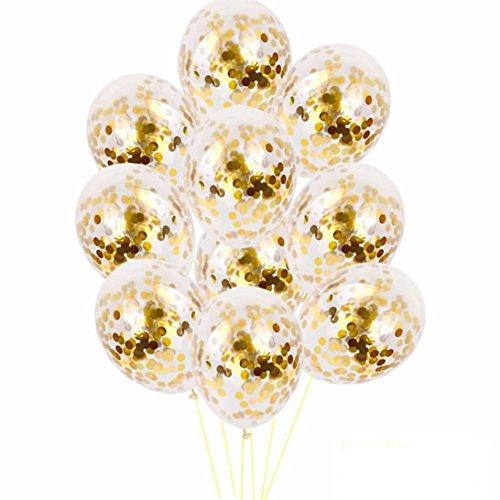 YJYdada 10pcs 12 inch Foil Latex Confetti Balloon Set Wedding Birthday Baby Shower (A)]()