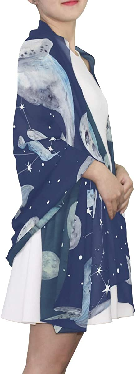 EELa Long Shawl for Women Star Whales Pattern Printed Wrap 70x35 inches