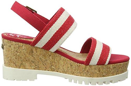 Pepe Jeans Katherine Double Strap - Sandalias de Plataforma Mujer Rojo / Blanco