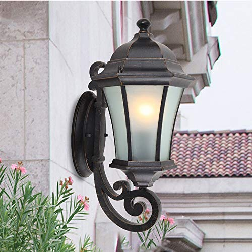 ZSAIMD Creative Hexagon Outdoor Wall Mount E27 Sconce Waterproof Aluminum Metal Wall Lamp with Clear Seeded Glass Shade Wall Light Garden Staircase Door Aisle Balcony Courtyard Decoration (X-large Outdoor Wall Fixture)