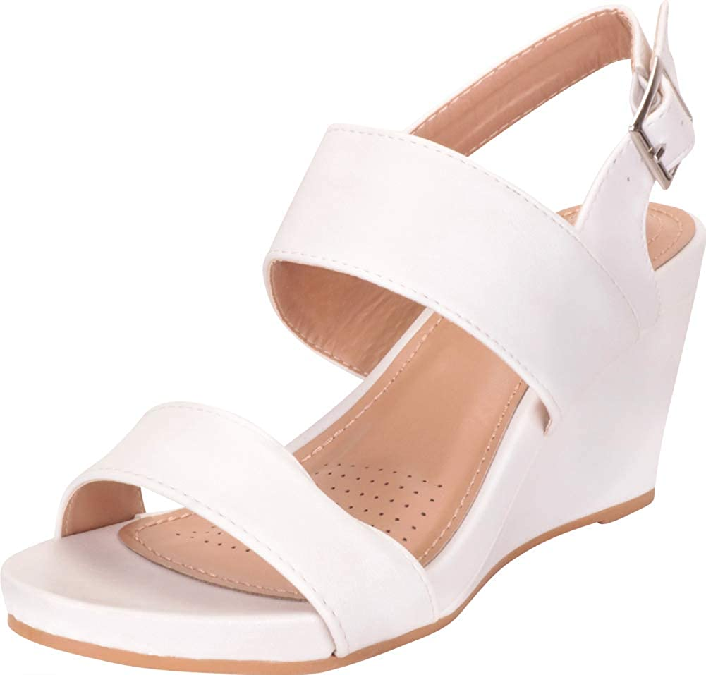 White Pu Cambridge Select Women's Classic Two-Strap Slingback Chunky Platform Wedge Sandal