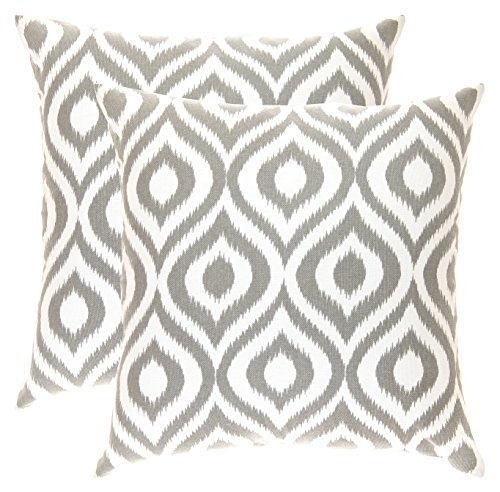 TreeWool, (2 Pack) Throw Pillow Covers Ikat Ogee Accent in Cotton Canvas (18 x 18 Inches; Sleet Grey) - Ikat Throw Pillow