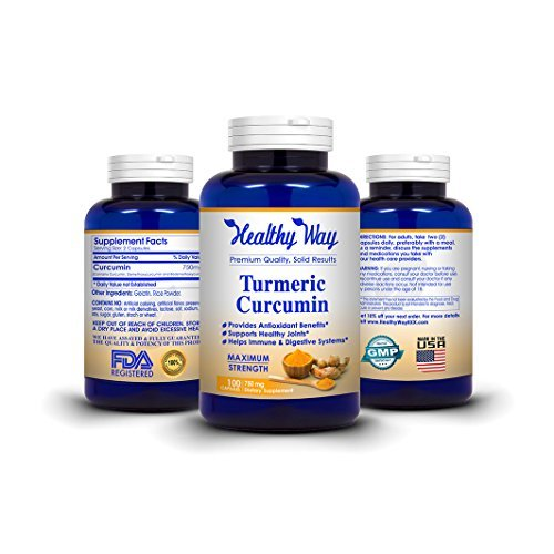 Healthy Way Pure Tumeric Curcumin 750mg Natural Turmeric Root Powder Supplement Natural Anti-Inflammatory Joint Pain Relief Pills NON-GMO & Gluten Free