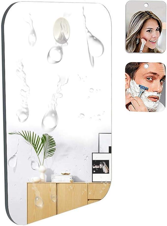 18cm x 14 cm Specchio da barba della doccia del bagno con il gancio adesivo smontabile di lunga durata del bonus 66/% pi/ù grande delloriginale. capace senza nebbia infrangibile