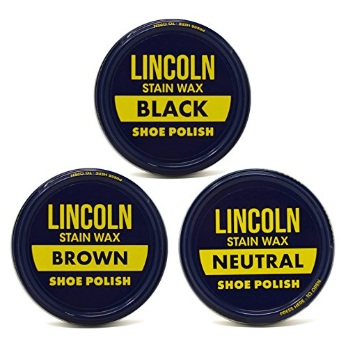 Shoe Paste Wax - Lincoln Stain Wax Shoe Polish Black, Brown, Neutral Variety 3 fl oz, 3 Pack
